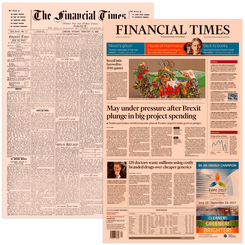 A comparison of the first and latest edition of the Financial Times