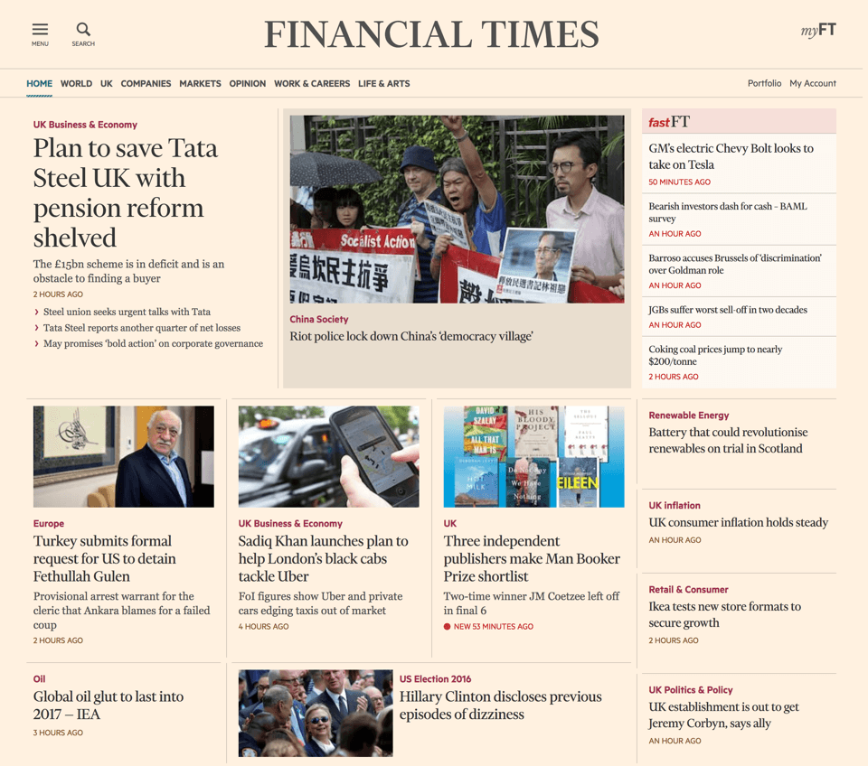 Screenshot of the FT.com front page