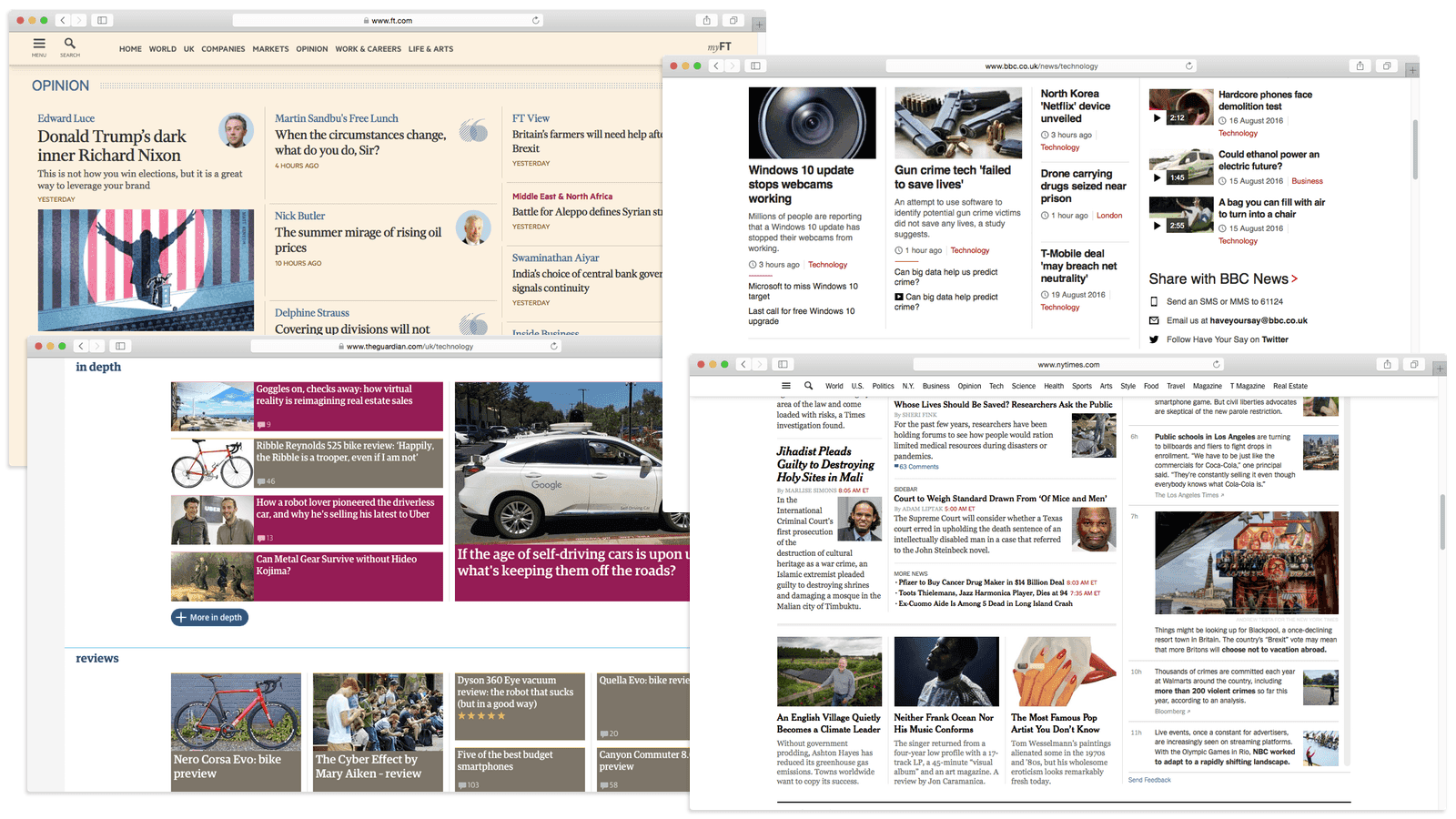 Screenshot of the FT, BBC, Guardian and NYT websites
