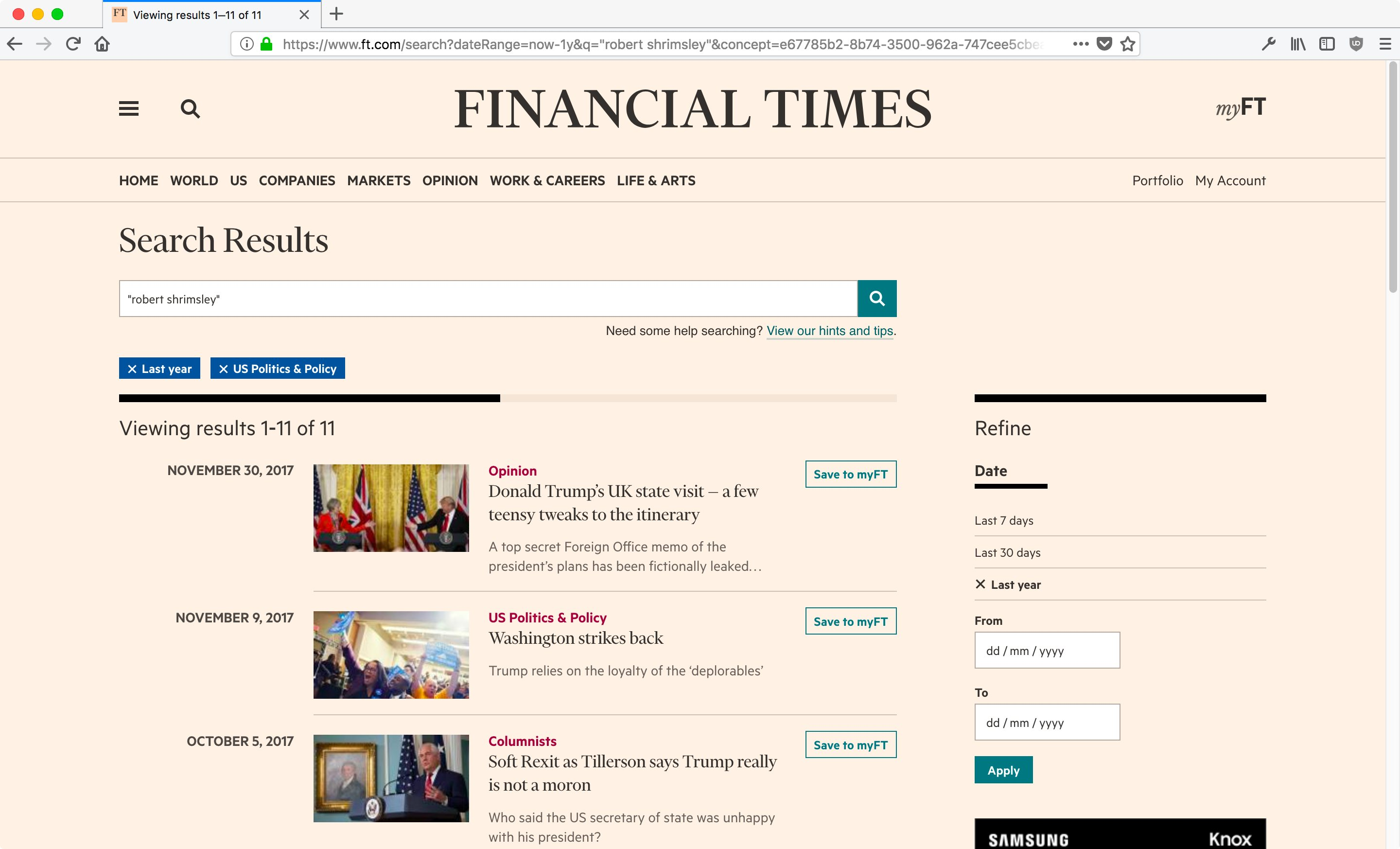 The new search page on ft.com