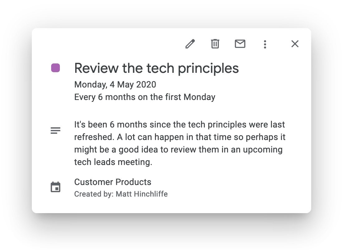 "A calendar invite with the title ""Review the tech principles"" dated May 2020"